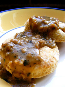 Biscuits and Tempeh Sausage Gravy