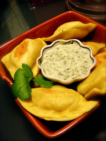 Vegetable Samosas with Coconut Mint Chutney