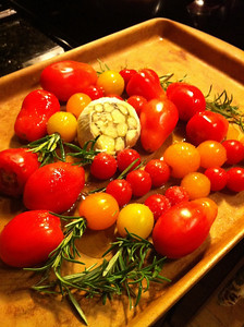 Pre-Oven Oven Roasted Tomatoes, Garlic and Rosemary (iPhone pic)