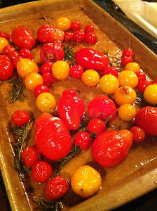 Oven Roasted Garden Tomatoes and Garlic with Fresh Rosemary (iPhone pic)